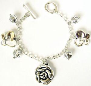 【送料無料】ブレスレット アクセサリ― ローズバタフライボールスターリングシルバーブレスレットrose butterfly ball charm sterling silver bracelet 75