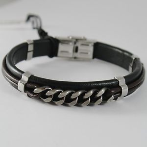 【送料無料】ブレスレット アクセサリ― ステンレススチールビンテージブレスレットチェーザレstainless steel vintage gourmette bracelet with leather, 4us by cesare paciotti