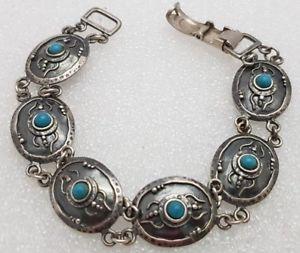 【送料無料】ブレスレット アクセサリ― ビンテージブレスレットイスラエルターコイズシルバーvintage bracelet israel turquoise silver 925 yemenite stile
