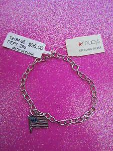 【送料無料】ブレスレット アクセサリ― スターリングシルバーアメリカブレスレット925 sterling silver usa flag bracelet