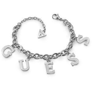 【送料無料】ブレスレット アクセサリ― ステンレススチールブレスレットguess jewels stainless steel bracelet with charms letters ubb28020s
