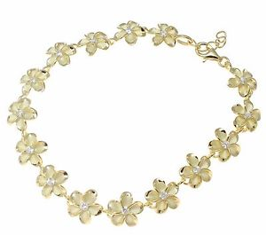 【送料無料】ブレスレット アクセサリ― イエローゴールドシルバーハワイアンファンシープルメリアフラワーブレスレットyellow gold 925 silver hawaiian fancy plumeria flower bracelet cz 10mm 75