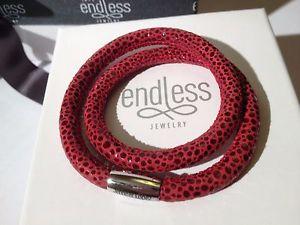 【送料無料】ブレスレット アクセサリ― jlopez 36cmレッドブレスレットrrp652endless jlopez 36cm red reptile bracelet double strand silver clasp rrp 65