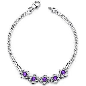 【送料無料】ブレスレット アクセサリ― 125 アメジストスターリングブレスレットct125 ct round purple amethyst sterling silver bracelet