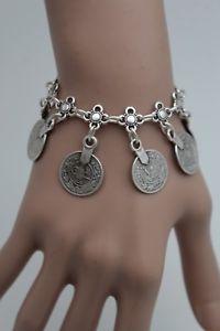 【送料無料】ブレスレット アクセサリ― アンティークビンテージブレスレットファッションジュエリーコインフラワーantique vintage silver metal wrist bracelet fashion jewelry coin flower charms