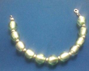【送料無料】ブレスレット アクセサリ― スターリングシルバーライムグリーンビーズスペーサーブレスレットsterling silver dress bracelet with lime green beads and spacer length 75