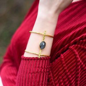 【送料無料】ブレスレット アクセサリ― オスマンカフブレスレットaylas semi precious gem stone ottoman gold plated cuff bracelet labradorite