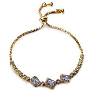 【送料無料】ブレスレット アクセサリ― ホワイトジルコンテニスsparklyブレスレットfashion sparkly shiny clear white zircon tennis gold plated adjustable bracelet