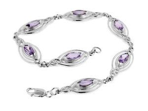 【送料無料】ブレスレット アクセサリ― アメジストケルトノットブレスレットsterling silver marquise amethyst celtic knot elliptical ovals bracelet