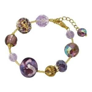 【送料無料】ブレスレット アクセサリ― ベニスムラノガラスブレスレットgrazianagraziana shades of purple venetian murano glass bracelet