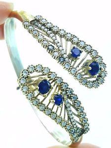 【送料無料】ブレスレット アクセサリ― トルコトルコ925スターリングサファイアカフスブレスレット1426turkish ottoman handmade jewelry 925 sterling silver sapphire cuff bracelet 1426