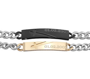 【送料無料】ブレスレット アクセサリ― ステンレスパートナーブレスレッツブレスレットクリスマスシルバーstainless steel partner bracelets bracelet wish engraving silver gift for christmas