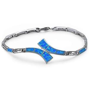 【送料無料】ブレスレット アクセサリ― オパールギリシャスターリングシルバーブレスレットblue fire opal greek key design 925 sterling silver bracelet