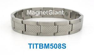 【送料無料】ブレスレット アクセサリ― パワーmensチタン5000ガウスシルバーcool high power mens magnetic titanium bracelet 5000 gauss magnets silver