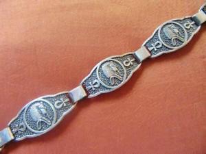 【送料無料】ブレスレット アクセサリ― ビンテージエジプトソリッドスターリングシルバーブレスレットトゥトアンクアメンマスクスタンプamazing vintage egyptian solid sterling silver bracelet tutankhamun mask_stam