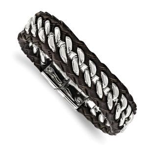 【送料無料】ブレスレット アクセサリ― ステンレスインチブレスレットchisel stainless steel polished brown leather 85 inch bracelet srb181085