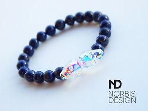 【送料無料】ブレスレット アクセサリ― 69インチスワロフスキーダブルブレスレットmens lapis lazuli double skull bracelet with swarovski crystal 69inch elastic