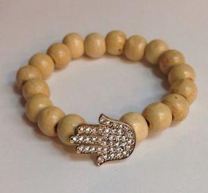 【送料無料】ブレスレット アクセサリ― ウッドゴムブレスレットブレスレットライトブラウンwood hamsa wstones elastic bracelet light brown hand of god religious bracelet