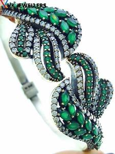 【送料無料】ブレスレット アクセサリ― スターリングシルバートルコハンドメイドジュエリーエメラルドカフブレスレット925 sterling silver turkish handmade jewelry emerald cuff bracelet 75 b2125