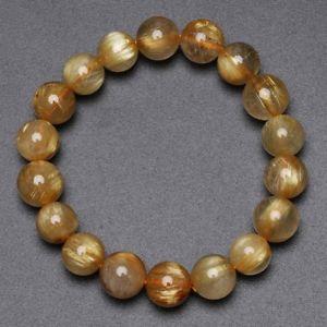 【送料無料】ブレスレット アクセサリ― ゴールドチタンルチルクリスタルビーズブレスレット115mm natural gold titanium rutilated quartz crystal beads bracelet gra013