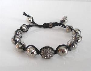 【送料無料】ブレスレット アクセサリ― タイグレークリスタルディスコボールビードコードブレスレット tai grey crystal disco ball sterling silver bead adjustable cord bracelet