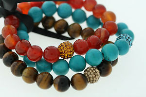 【送料無料】ブレスレット アクセサリ― ターコイズキャッツアイビーズブレスレットセット10mm genuine agate, turquoise, amp; tigers eye polished bead 3 bracelet set