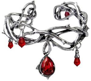 【送料無料】ブレスレット アクセサリ― ピューターゴシックブレスレットpassion thorny pewter red crystal blood droplets alchemy gothic bracelet a80