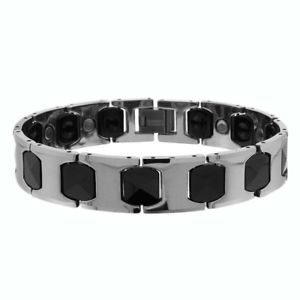 【送料無料】ブレスレット アクセサリ― タングステントーンクッションリンクブレスレットmen women 13mm tungsten carbidetwo tone h amp; cushion link magnetic bracelet