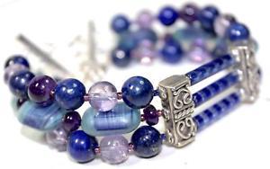 【送料無料】ブレスレット アクセサリ― ブレスレットビンテージガラスビーズアメジストラピスラズリthree strand bracelet vintage glass beads amethyst lapis lazuli j14