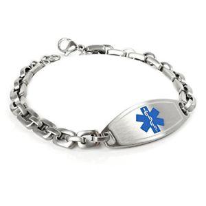 【送料無料】ブレスレット アクセサリ― カスタマイズアラートブレスレットスチールマットmyiddr customized free engraving medical alert bracelet, 316l 7mm steel matte