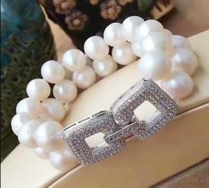 【送料無料】ブレスレット アクセサリ― サウスシーホワイトパールブレスレット2 row aaa 1011mm natural south sea white pearl bracelet 758 mouth shape clas