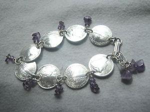 【送料無料】ブレスレット アクセサリ― ダイムブレスレットラピスラズリイヤリングドームsilver mercury dime bracelet lapis lazulifree earringnicely domed