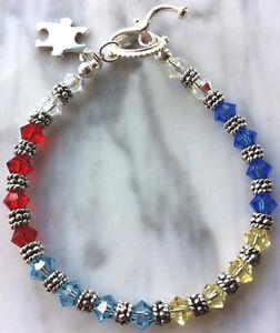 【2018年製 新品】 【送料無料】ブレスレット アクセサリ― シルバースワロフスキークリスタルブレスレットsilver amp; swarovski crystal autism awareness bracelet, オタルシ 5f75356e