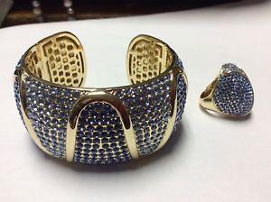 【送料無料】ブレスレット アクセサリ― ワイドクリスタルラインストーンカフブレスレットリングfabulous akkad periwinkle amp; blue wide crystal rhinestone cuff bracelet amp; ring