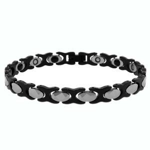 【送料無料】ブレスレット アクセサリ― タングステントーンリンクブレスレットmen women 8mm tungsten carbidetow tone xo link magnetic bracelet