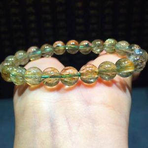 【送料無料】ブレスレット アクセサリ― ルチルクリスタルビーズブレスレット83mm natural green rutilated quartz crystal beads bracelet aaa
