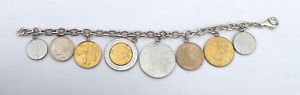 【送料無料】ブレスレット アクセサリ― 925スターリングイタリアコインリラブレスレットlot2154lovely 925 sterling silver italian coin lira charm bracelet lot2154