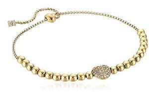 【送料無料】ブレスレット アクセサリ― ミハエルロゴハートゴールドビーズブレスレットスライド authentic michael kors logo pave heart gold beaded slide bracelet mkj6315710