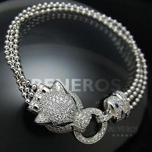 【送料無料】ブレスレット アクセサリ― ヘッドタッセルブレスレットジャガーleopard head tassel bracelet cz animal womens silver jewelry jaguar cat