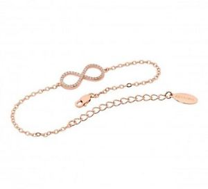 【送料無料】ブレスレット アクセサリ― スターリングシルバーローズゴールドブレスレットドルgeorgini b144rg sterling silver rose gold plated infinite bracelet rrp119