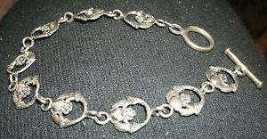 【超目玉】 【送料無料】ブレスレット アクセサリ― スターリングシルバーセルティックピーターストーンッドクラダリンクブレスレットアイルランドsterling silver celtic claddagh link bracelet from peter stone love, irish, Lucy shop 245eaa4f