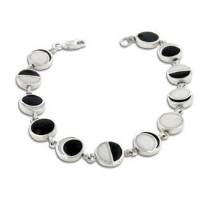 【送料無料】ブレスレット アクセサリ― エナメルスターリングシルバーリンクブレスレットlunar phases of the moon enameled inlay sterling silver 7 link bracelet