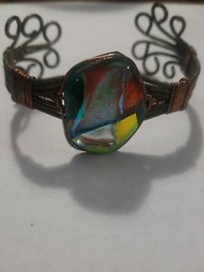 【送料無料】ブレスレット アクセサリ― デザイナーカフブレスレットdesigner inspired cuff bracelet wirewrap in copper and silver