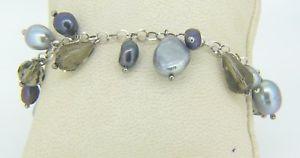 【送料無料】ブレスレット アクセサリ― スターリングシルバーマルチカラーパールブレスレットsterling silver multi color dyed pearl amp; brown gemstone 7 12 bracelet x10