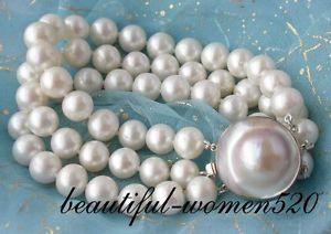 【送料無料】ブレスレット アクセサリ― パールブレスレットマベシルバークラスプz2039 3row 10mm round white fw pearl bracelet mabe silver clasp