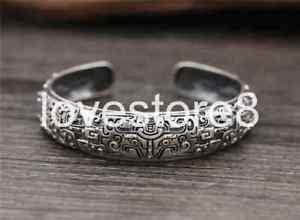 【送料無料】ブレスレット アクセサリ― スターリングシルバーレトロパターンブレスレット listingpure s925 sterling silver retro god beast feastful opening pattern bracelet