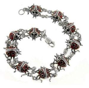 【送料無料】ブレスレット アクセサリ― スターリングテントウムシブレスレットsterling silver detailed red enameled ladybug bracelet