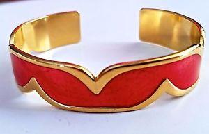 【送料無料】ブレスレット アクセサリ― デザイナーユニークヴィンテージレッドエナメルゴールドトーンカフブレスレット~ designer unique quality vintage red enamel amp; gold tone estate cuff bracelet