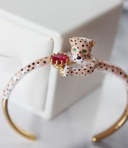 【送料無料】ブレスレット アクセサリ― エアコンpulsera esmalte pantera leopardo marrn artisan fino original ajustable l4