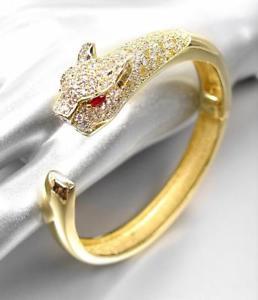 【送料無料】ブレスレット アクセサリ― デザイナーカフブレスレットluxurious stunning designer 18kt gold plated cz crystals leopard cuff bracelet